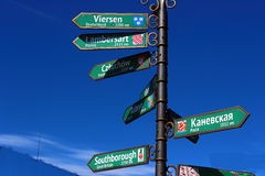 Signposts at the crossroads. Against the blue sky green direction signs Stock Photography