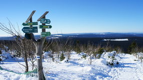 Signposts on the Fichtelberg in winter Royalty Free Stock Photography