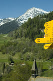 Signposts guiding hikers in the Valais Royalty Free Stock Photography