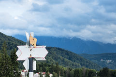 Signposts leading to various directions Stock Photos