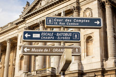 Signposts in Paris centre Royalty Free Stock Images
