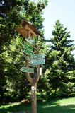 Signposts at the Rennsteig Royalty Free Stock Photo