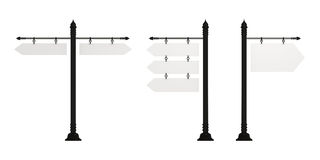 Signposts, set of three, isolated on white. Signposts, front view, set of three (3-in-1), isolated on white with clipping path Stock Image