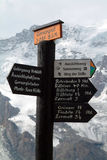 Signposts on the Swiss Mountains Royalty Free Stock Image