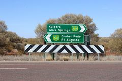 Signposts to Kulgera, Alice Springs, Coober Pedy and Pt Augusta, Australia. Signposts to Kulgera, Alice Springs, Coober Pedy and Pt Augusta along the Stuart stock images