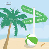 Signposts on a tropical beach Stock Photography