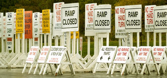 Signs. Bunch of traffic and parking signs Royalty Free Stock Photo