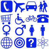 Signs. People and transportation icons and signs royalty free illustration