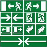 Signs. Green safety and evacuations signs (pictograms Royalty Free Stock Image