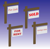 Signs. Various useful signs: for sale, sold, garage sale and for rent Stock Images