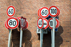 Signs. A lot of traffic signs Royalty Free Stock Photography