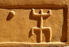 Signs. On a Dogon clay house, Mali Stock Photo
