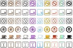 Signs. Different icons of signs showing - non-smoking area, smoking, danger, restaurant, bar Vector Illustration