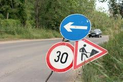 Signs. Road signs warning at construction Royalty Free Stock Photos