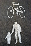 Signs. Of bicycle and people on the pavement Royalty Free Stock Images