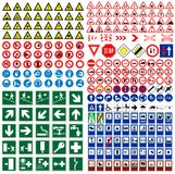 Signs. The big sign collection traffic, work, safety, harmful & other vector signs royalty free illustration