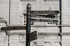 Signs in Aberdeen City , Scotland. Direction signs for Art gallery in Aberdeen City, Scotland Royalty Free Stock Images