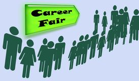 Career Fair Sign and People Waiting Royalty Free Stock Photos