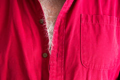 Signs of aging - grey hairs on a male chest Stock Photo