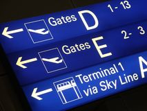 Signs in airport. Tableau with directions in the airport Royalty Free Stock Photo