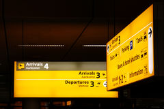 Signs at Airport. Illuminated signs at Amsterdam airport Netherlands stock photos