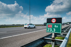 Signs along Dutch roads indicate the maximum alowed speed Royalty Free Stock Photos