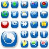 Signs&Symbols-Blau-DropShadows Stockbild