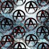 Signs of anarchy. Seamless background pattern. Grunge punk pattern, signs of anarchy Stock Image