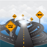 Signs and asphalted road on blue background.Vector Stock Images