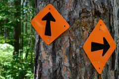 Signs on ATV and Snowmobile Trail Royalty Free Stock Photography