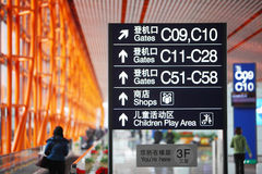 Airport signs. The signs in the beijing international airport Stock Photos
