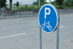 Signs for bicycle parking. Stock Image