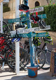 Signs by bike rental agency Stock Image