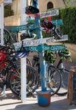 Signs by bike rental agency Stock Image
