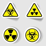 Signs of biological and radioactive contamination. Of circular and triangular shapes Royalty Free Stock Photography