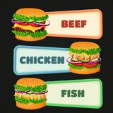 Signs with burger icons. stock illustration
