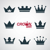 09_4_signs_134. Business conceptual icons, can be used in graphic and web design. Set of vector vintage crowns, luxury ornate coronet illustration. Collection of Royalty Free Stock Photos