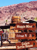 The signs in the calico ghost town Stock Images