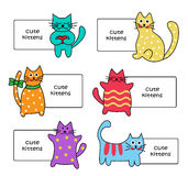 Signs with Cartoon kittens. Signs with Cartoon colorful cute kittens on a white background Stock Photo