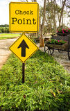 Signs of check point ahead. Stock Photo