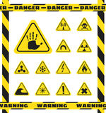 Signs of chemical effects on human, radiation, radiation and explosives in the yellow triangles. Caution. Vector Royalty Free Stock Images