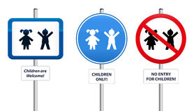 Signs Children. Three signs, that welcome children or that try to keep them away. The text in the signs can be changed Royalty Free Stock Photos