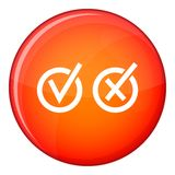 Signs of choice of tick and cross in circles icon Royalty Free Stock Photo