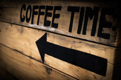 Signs Coffee on wood old retro.  royalty free stock photo