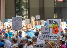 Signs and Crowd at Chicago March/Protest Royalty Free Stock Photos