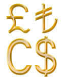 Signs of currencies: pound, Canadian dollar, lire Stock Image