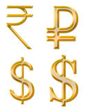 Signs of currencies: rupee, ruble, dollar Stock Photo