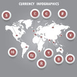 Signs of the currencies on the world map. Infographics. Vector Royalty Free Stock Photo