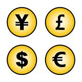 Signs of currencies yen pound dollar Euro stock illustration