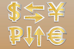 Signs of the currency. Vector icons. Currency exchange signs . Set gold style sticker on brown background. Arrows can show fluctuations Stock Images
